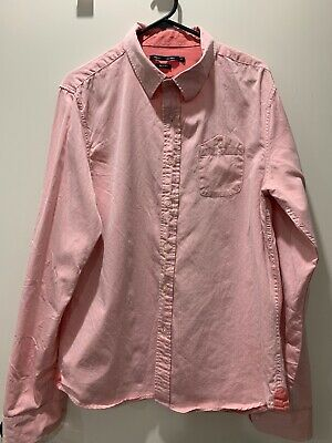 French Connection Men's Pink Long Sleeve Shirt Size M Slim Fit Used Condition