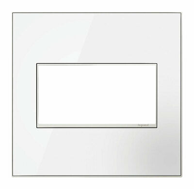 Legrand Adorne Mirror WHITE Double 2Gang Wall plate Switch Outlet Cover NEW