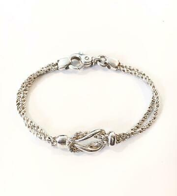 Tiffany & Co. Sterling Silver Double Rope Love Knot Bracelet 7.5 Excellent++