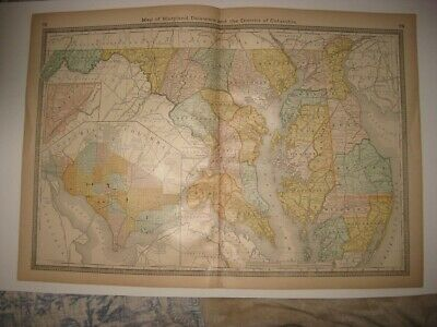 Antique 1883 Maryland Delaware Washington Dc Railroad Map Detailed Superb Rare