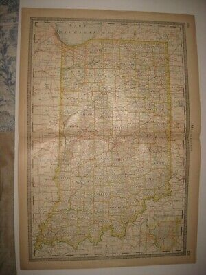 Superb Antique 1883 Indiana Railroad Map Indianapolis Detailed Fine Rare Nr
