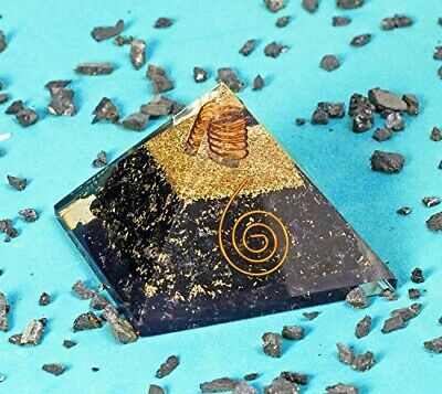 Extra Large LG 70MM Black Tourmaline Orgone Healing Pyramid EMF Protection Feng