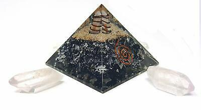 Extra Large LG 75MM Black Tourmaline Crystal Orgone Pyramid Kit  Includes 4 Cryt