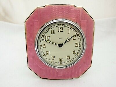 Solid Silver And Guilloche Enamel Clock - Birmingham 1936 Working 8 Day - Pink