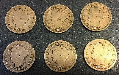 1890's LIBERTY NICKELS (1890, 1891, 1892, 1893, 1895, 1897) - 6 COINS Lot #21