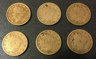 1890's LIBERTY NICKELS (1890, 1891, 1892, 1893, 1895, 1897) - 6 COINS Lot #23