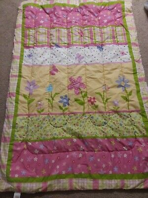 Target Circo Pink Floral Baby Girl's Crib Comforter Quilt Green Pink Yellow read