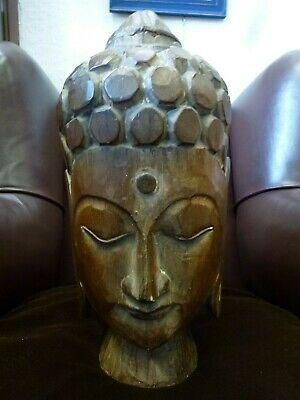 Large wooden wood hand carved Buddha Face Head statue figure sculpture Deity