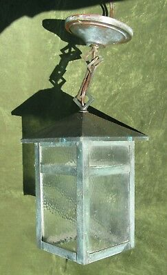 Vintage Arts & Crafts Mission Copper Glass Lantern Hanging Lamp Light