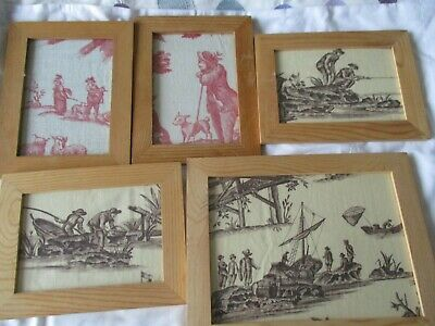 Original Framed Antique French Fabric Fragment Pictures Toile De Jouy Maritime