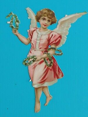 LARGE  SIZE VICTORIAN SCRAP ANGEL  ANTIQUE 1880.S  8  X  6.1/4  IN  21 .cm x 16