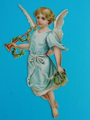 LARGE SIZE VICTORIAN SCRAP ANGEL ANTIQUE1880.S  8 X  6.1/4  IN  21 m x 16 BLUE