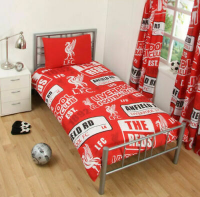 LIVERPOOL FC Football Duvet Cover Set SINGLE Bed Kids Adults