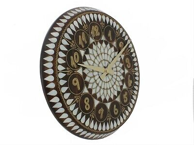 Wall Clock with Mother of Pearl and Brass Wire Inlay Beautiful Motifs