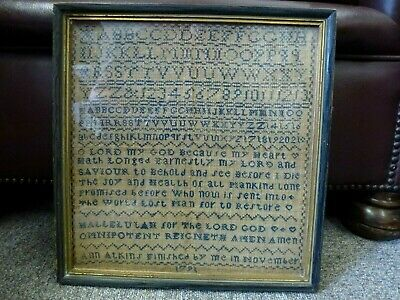 Antique Alphabet Tapestry OLD Embroidery Sampler hand stitched textile 1791
