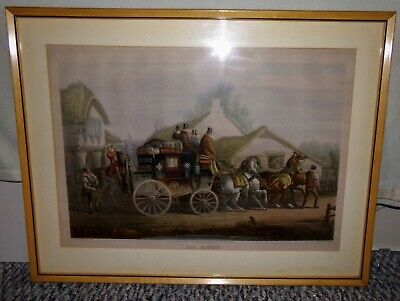 Antique Original Colored Lithograph of Fores's Coaching Recollections 1846