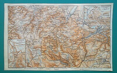 GERMANY Harz Mountains Harzburg Wernigerode Brocken - 1912 MAP Baedeker