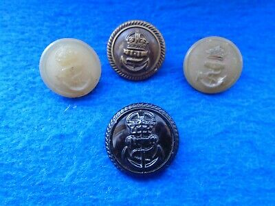 Job Lot Of Mixed Royal Navy Buttons, Wwi, Wwii, Black Metal, Brass & Plastic