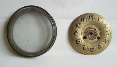 A Vintage Brass Clock Face, Glass Door & Rim.