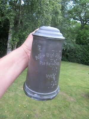 Old Pewter Lidded Glass Bottom Tankard Oxford High School Old Boys Race 1889