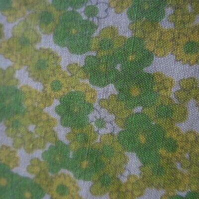 Vintage Cotton Fabric Lime Green Tiny Floral 1960s 50cm x 88cm Retro Sewing