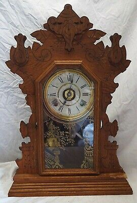 Antique SETH THOMAS Oak Kitchen Shelf Mantel Clock with Alarm Circa 1910