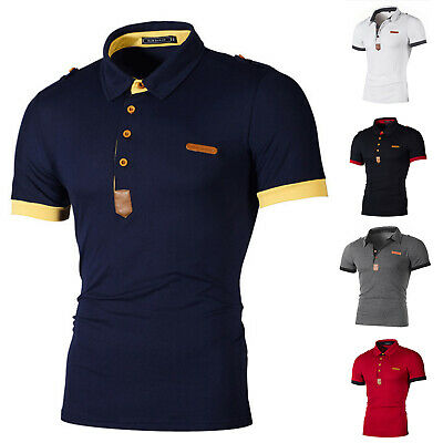Mens Polo Neck T Shirt Slim Fit Short Sleeve Tops Summer Casual Sports Golf Tee