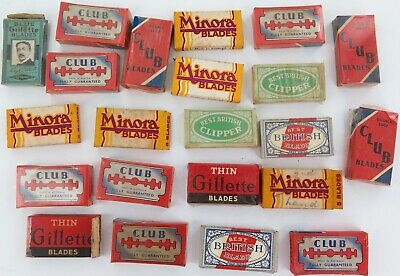 .SUPERB LOT 1930s / 1940s MOSTLY NEW OLD STOCK RAZOR BLADE PACKS