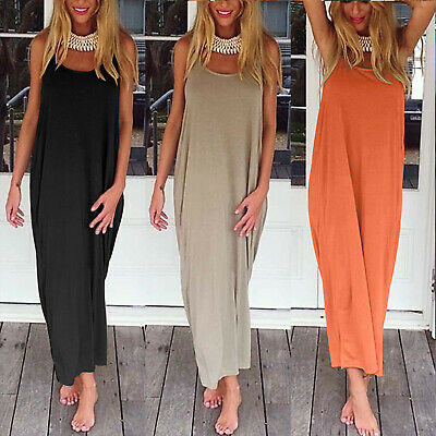 Ladies Boho Backless Long Maxi Tank Top Dresses Summer Beach Hippie Tunic Dress