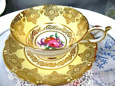 Paragon tea cup and saucer yellow gold gilt & roses floral teacup wide mouth set