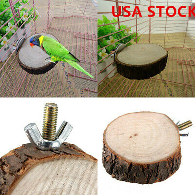 Pet Bird Parrot Chew Toy Wood Hanging Swing Cages Parakeet Stand PlatfoEC