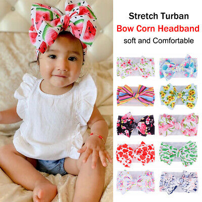 Baby Toddler Girls Kids Boho Print Bow Knot Turban Headband Hair Band Headwrap~