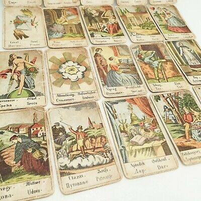 Vintage Tarot card deck telling fortune TRUE ANTIQUE 32 CARDS 1930's Hungary