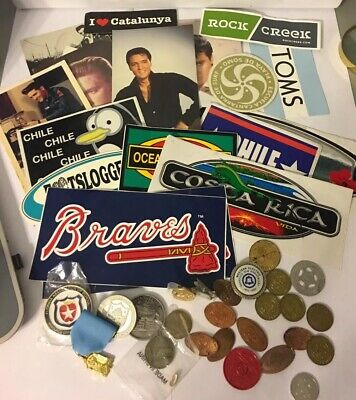 Junk Drawer Lot Elvis postcards misc surf stickers & tokens