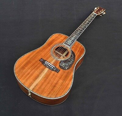 Solid Koa  Top D45 Dreadnaught Acoustic/Electric Guitar W/  Abalone Inlay