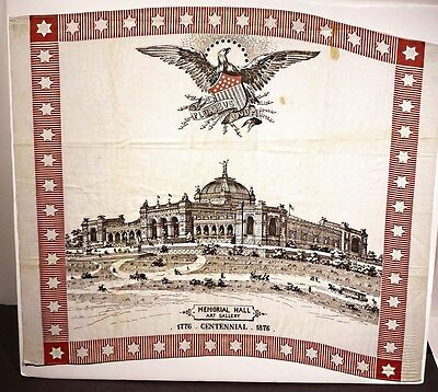 Rare 1876 Centennial Expo Printed Textile Memorial Hall
