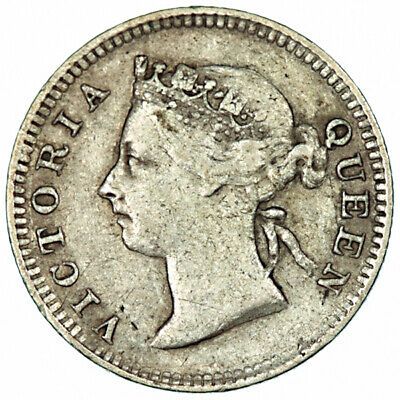 1899 Straits Settlements 5 Cents ~ KM#10 Victoria British Colonial Silver Coin