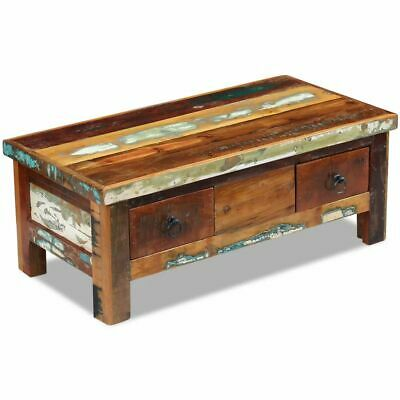 vidaXL Solid Recycled Timber Coffee Side Table Drawer 90x45cm Handmade Antique