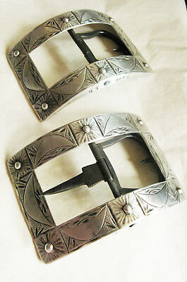 Fine Pair Xl Hallmarked 1814 Georgian Engraved Silver & Steel Buckles