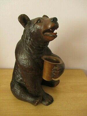 "Antique Large 11.5"" Black Forest Musical Bear Tobacco Jar Wood Carving Swiss"