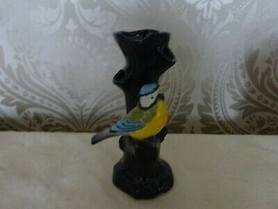 Vintage Retro Black Tree Trunk Style Vase With Blue Tit Bird Kitsch 18cm Tall
