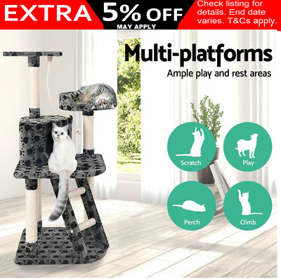 Cat Scratching Post Tall Tree House Scratcher Condo Furniture Tower Grey 120cm