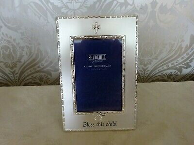 """Shudehill Giftware Classic Christening Bless this Child Baby Photo Frame 4"""" x 6"""""""