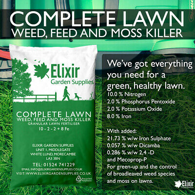 Elixir Gardens | COMPLETE LAWN | 4 in 1 Weed and Feed | 10- 2- 2 + 8 Fe | 10kg