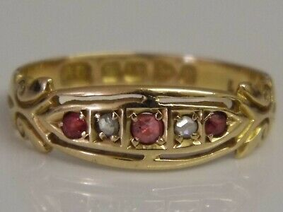 AN EXQUISITE ANTIQUE VICTORIAN 18ct SOLID GOLD RUBY DIAMOND RING C1898 Size M1/2