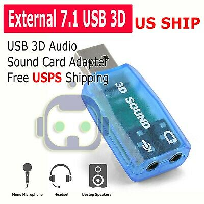 USB 3D AUDIO Sound Card Microphone Headset Adapter - $3 95