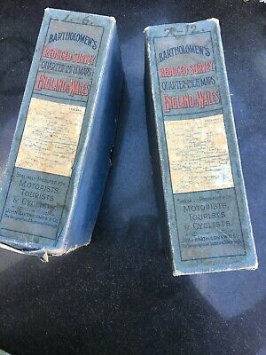 Bartholomews Reduced Survey 1/4 Inch Maps In Boxes 100 Yrs Old