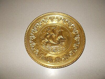 Sailing ship nautical decorative stamped brass tin vintage wall hanging plate