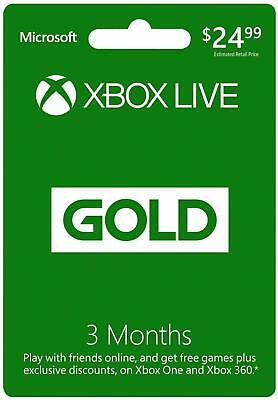 Microsoft Xbox Live Gold 3 Month Membership Card