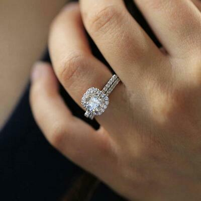 Fashion Women Square Cut Shiny Rhinestone Rings Silver Plated Jewelry Access LI